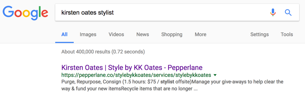 Kirsten's Pepperlane website  promoting her personal style business is the first result in a Google search